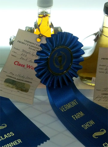 Roy's Maple Syrup won a Blue Ribbon.